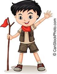 Little boy holding a walking stick illustration