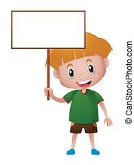 Little boy holding blank board