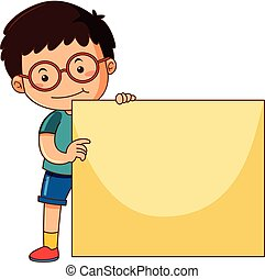 boy child kid holding blank empty poster board over head little