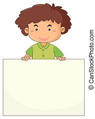 Little boy holding blank paper
