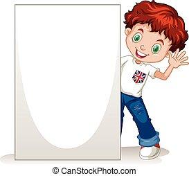 Little boy holding blank sign illustration