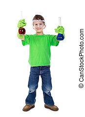 Little boy holding chemical flask