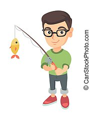 Little boy holding fishing rod with fish on hook.