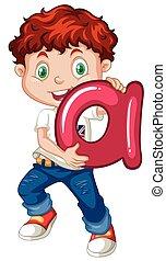 Little boy holding letter A