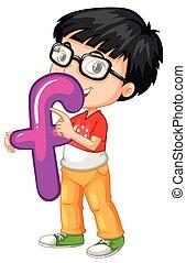 Little boy holding letter F