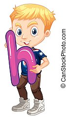 Little boy holding letter H