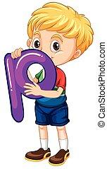 Little boy holding letter P