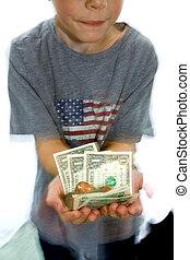 Little Boy Holding Money