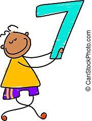 little boy holding number seven - toddler art series