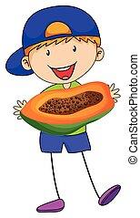 Little boy holding papaya cut in half
