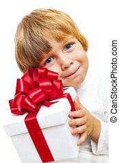 Little Boy holding present box