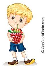 Little boy holding rasberry