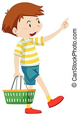 Little boy holding shopping basket illustration