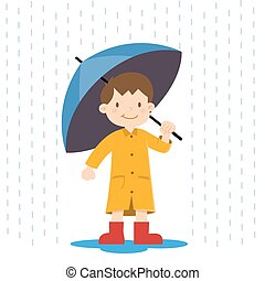Little Boy Holding Umbrella