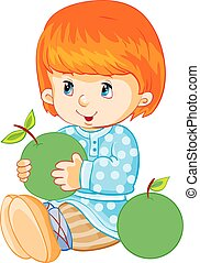 little boy holds a big green apple in his hands, isolated object on a white background, vector illustration,