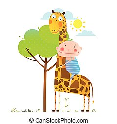 Little boy hugging a giraffe childish friendship - Happy...