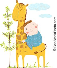 Little boy hugging a giraffe - Happy friend, child and...