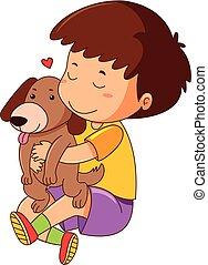Little boy hugging pet dog