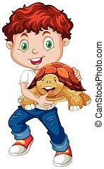 Little boy hugging turtle