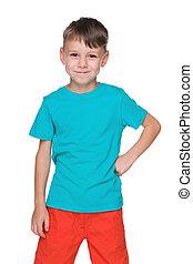 Little boy in a blue shirt