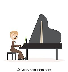 Little boy in a classic suit playing piano. Flat character isolated on white background. Vector, illustration EPS10.