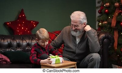 Little boy in a festive red plaid shirt is shake gift box in anticipation of surprise. Grandfather and grandson sit on sofa in a decorated room near glowing Christmas tree. Family vacation concept. Christmas Eve, happy childhood. Slow motion.