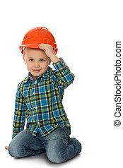 little boy in a hard hat
