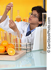 little boy in a lab