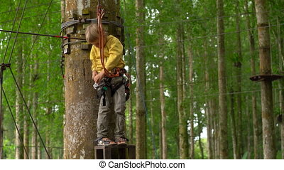 Little boy in a safety harness getting ready to ride a...