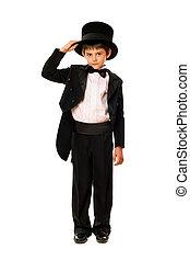 Little boy in a tuxedo and hat