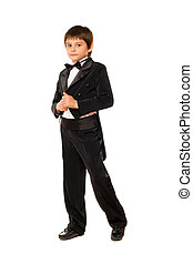 Little boy in a tuxedo. Isolated