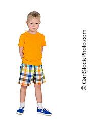 Little boy in a yellow shirt