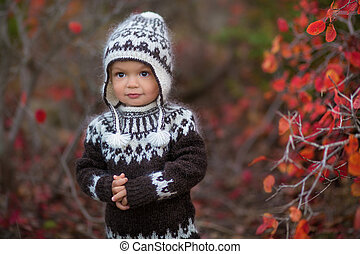 little boy in autumn park enjoying time