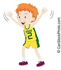 Little boy in basketball uniform