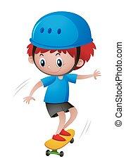 Little boy in blue helmet playing skateboard