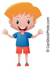 Little boy in blue shirt illustration