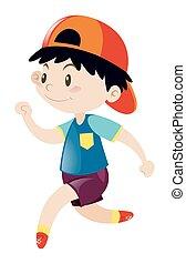 Little boy in blue shirt running
