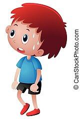 Little boy in blue shirt sweating illustration