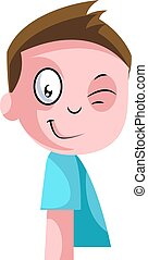 Little boy in blue top winking illustration vector on white background
