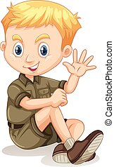 Little boy in camping outfit waving illustration