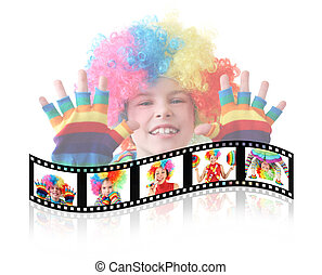 little boy in clown dress somersault isolated on white