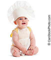 Little boy in cook hat isolated