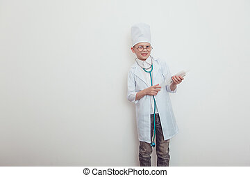 Little boy in doctor costume