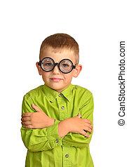 Little boy in funny glasses