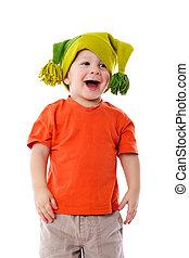 Little boy in funny hat