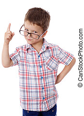 Little boy in glasses with pointing hand