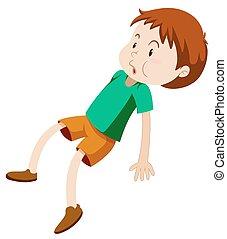 Little boy in green shirt illustration