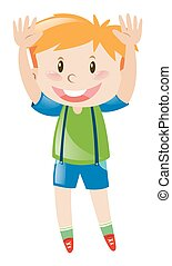 Little boy in green shirt lifting up both hands illustration