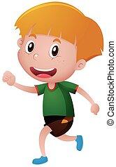 Little boy in green shirt running illustration
