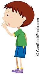 Little boy in green shirt whispering illustration